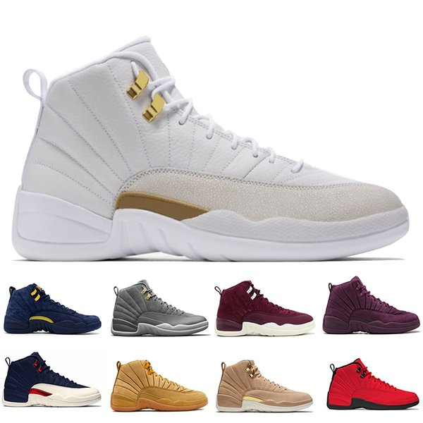 New 12 12s mens basketball shoes Wheat Dark Grey Bordeaux Flu Game The Master Taxi Playoffs French Blue Barons PSNY Purple Sports sneakers