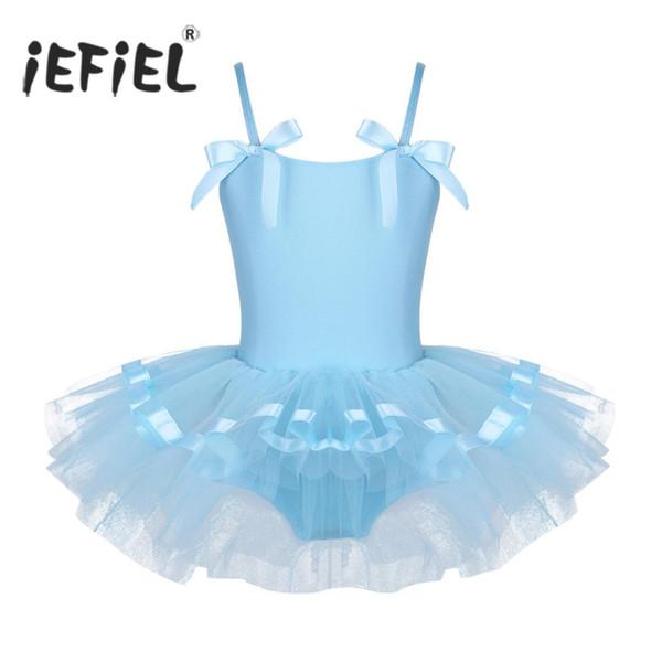 iEFiEL Kids Girls Spaghetti Shoulder Straps with Bowties Ballet Dance Gymnastics Leotard Girls Tutu Ballerina Dancing Dress
