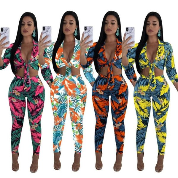 women clothes 2 piece outfits long sleeve bandage shirt pants tracksuit low cut sweatshirt tights sportswear clubwear hot n6