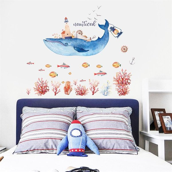 Cute Whale House Wall Stickers Self Adhered Waterproof PVC Sticker For Home Children Room Decor Murals Hot Sale 4zh BB