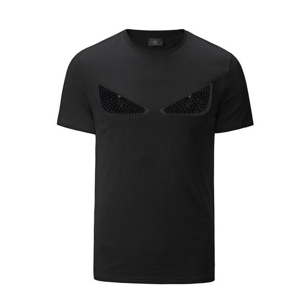 Nueva Moda Diseñador de Mareas Mens Ropa de Verano Para Hombre Diseñador Camisetas Casual Streetwear Diseñador Camiseta Remache Mezcla de Algodón de Manga Corta