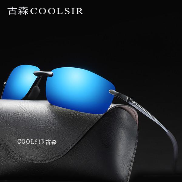 Rimless Square Sunglasses Men polarized Aluminium Magnesium Sunglases Mens Sun Glasses Mirror Retro Goggles Shades For Men 7105