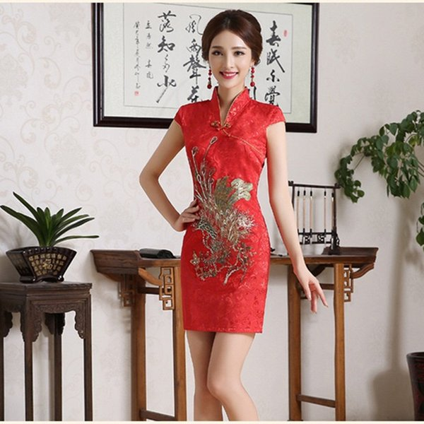 Women's Sequin Dress Cheongsam Phoenix Embroidery Women Chinese Traditional Qipao Red Bodycon Wedding Party Dress Festival 2018