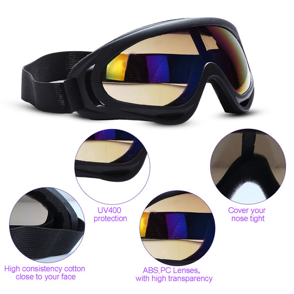 Outdoor Glasses Motorcycle Sunglasses for Men & Women Youth Sport Tactical Goggles Windproof Sand Ski Goggles Sunglasses UV Protection Color