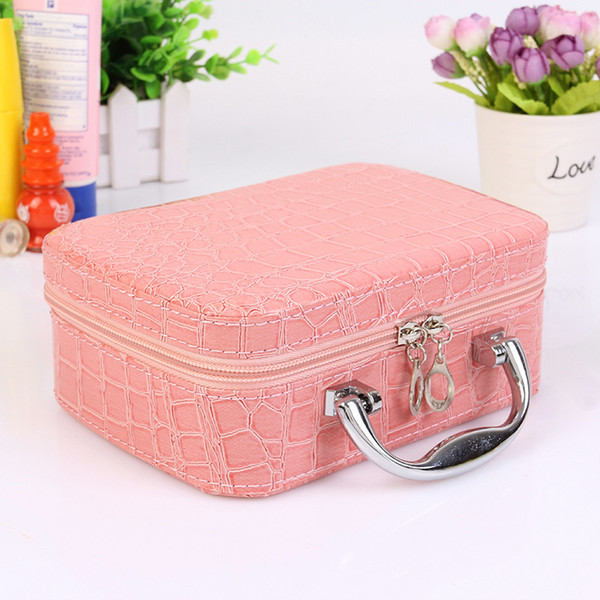 Small Mini Alligator Cosmetic Bags Beauty Case Makeup Bag Lockable Jewelry Box Travel Toiletry Organizer Suitcase