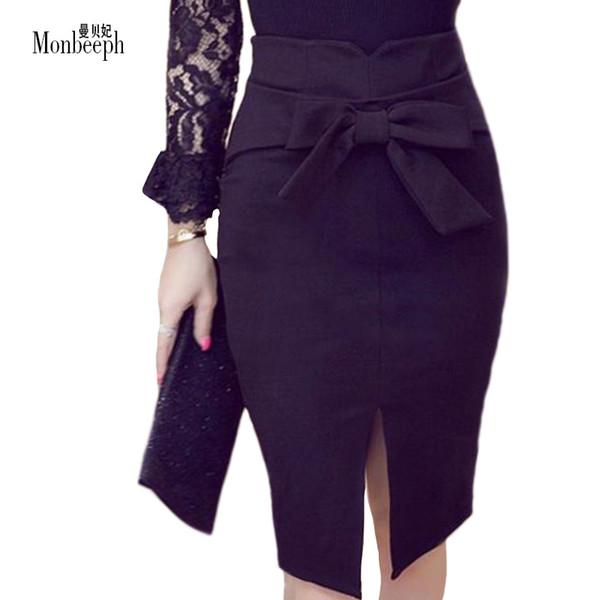 2019 Women Pencil Skirt Plus Size Spring Autumn New Fashion Knee Length  High Waist Casual Bodycon Skirt Elegant Open Slit Bow From Saltblue, $24.59  | ...