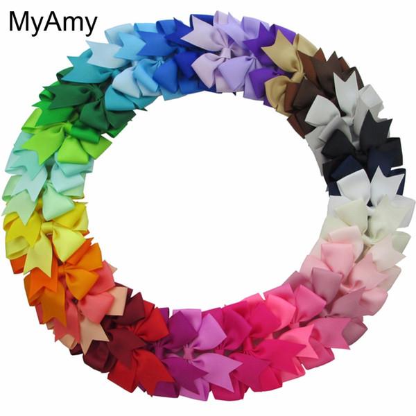 Myamy 40pcs Lot 3 Baby Girl Grosgrain Ribbon Boutique Hair Bows With Alligator Clips Pinwheel Bow For Children Kids Headwear