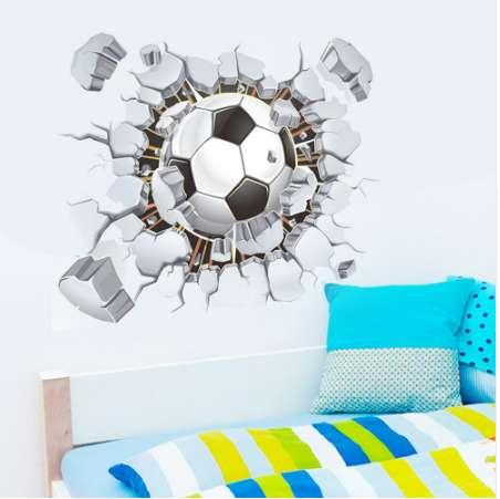 50*40cm Modern Large 3D Broken Wall Football Environment Layout TV Background Wall Decoration Removable Wall Stickers