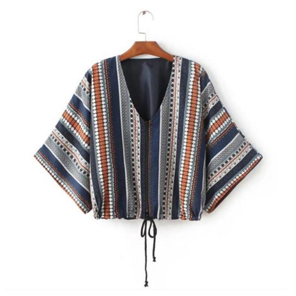 Wholesale- Retro Ethnic Geometric Print Zipper Kimono Cardigan Jacket 2016 Woman Paisley Print Bat sleeve Blouse Sunscreen Tops Femme