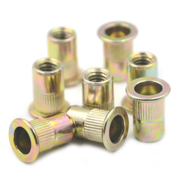 50pcs M6 Rivet Nut Flat Head Threaded Multi Blind Rivnut Insert Nutsert Steel