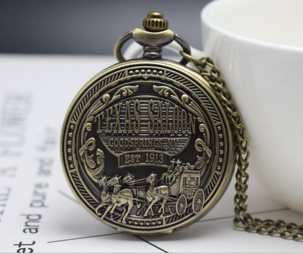 Antiques Bronze Texas car 1913 Men And woman Quartz Flip clock for Gifts for children Necklace pocket watches And men watches