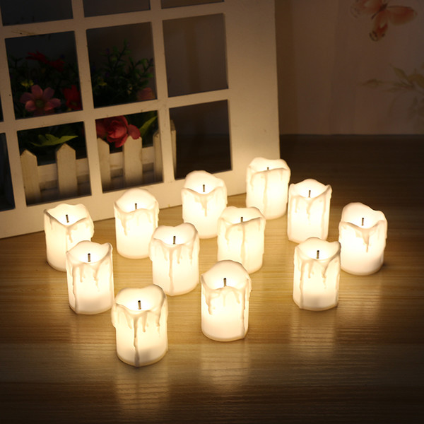 Pack Of 12 Warm White Not Flicker Flameless Electric Candles ,Battery Powered Tealight Candles Holiday /Wedding Big Votive Candles