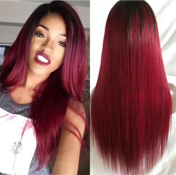 Peluca de encaje recta sedoso Peruvian Remy Hair 1B T 99j Ombre Color de la parte derecha Peluca de cabello humano con cabello y rayita para bebés