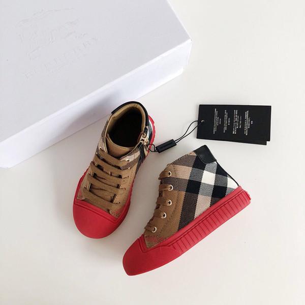 [Original box] Luxury brand 2019 Hot Sale Kids Canvas Slacker shoes Children's Hihg Skateboarding shoes Classic Sneakers gift Size:26-35