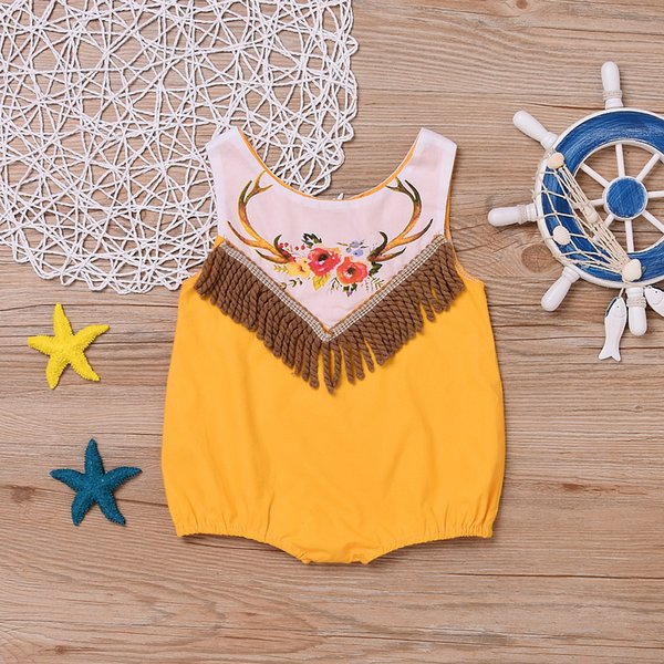 Everweekend Ins Hot Baby Girls Tassels Vintage Rompers Dears Horn Print Black and Yellow Color Cute New Born Baby Fashion Clothing