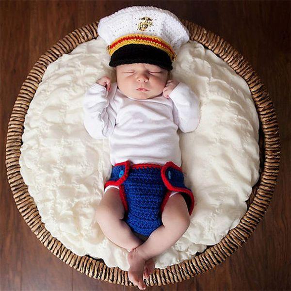 Nueva llegada Navy marinero Diseño infantil del bebé unisex ganchillo animal del traje de apoyos de la foto de punto muchachas del muchacho Trajes de animales apoyos de la fotografía
