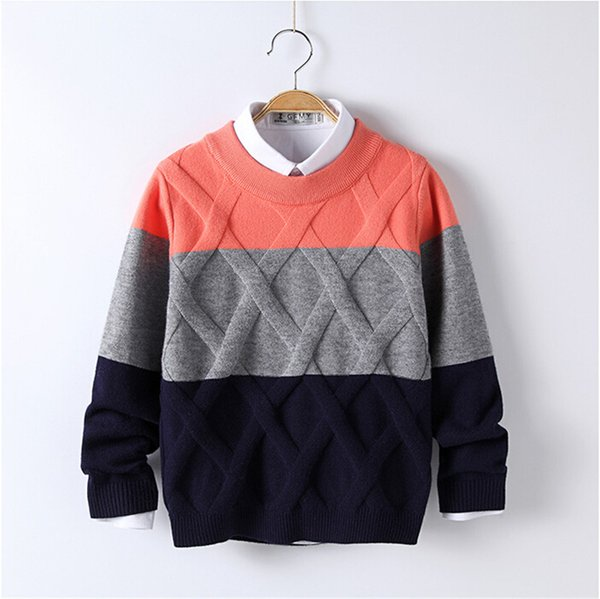 Baby Sweaters Patchwork Pattern Casual Style Autumn Knitted Boys Sweaters for Hot Students 5T-12T Woolen Clothes M1511