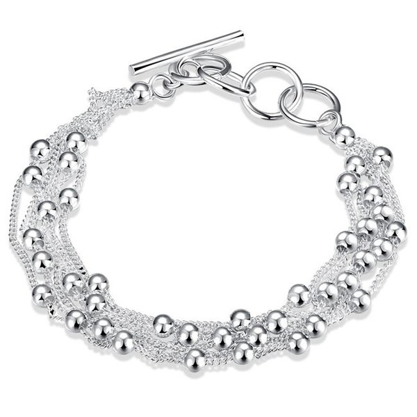 New arrival !Six wire bead hand chain925 silver bracelet JSPB0101,Beast gift men and women sterling silver plated Charm bracelets