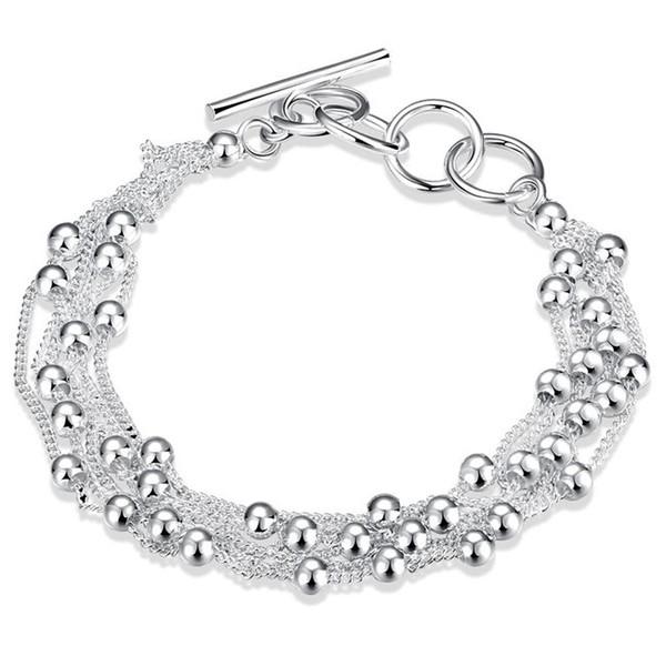 Nouvelle arrivée! Six fil perle main chain925 bracelet en argent JSPB0101, cadeau de la bête hommes et femmes en argent sterling plaqué charme bracelets