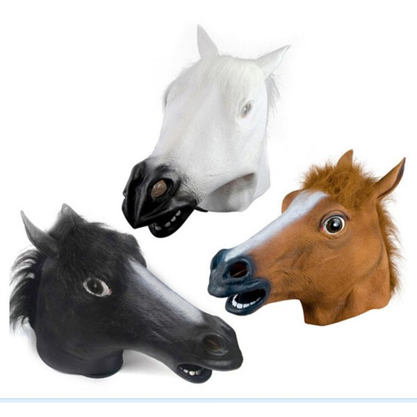 2018 new Creepy Horse Mask Head Halloween Costume Theater Prop Novelty Latex Rubber