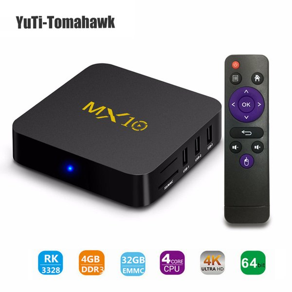 TV BOX, MX10 Android 8.1 MiNi PC, DDR3 4GB 32GB Soporte 2.4G Wifi conectado 64bit Quad-Core 3D 4K HDR Reproducción de video TV