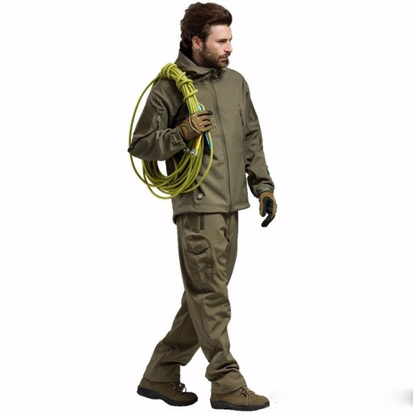 Camouflage Hunting Soft Shell TAD Suit Outdoor Tactical Shark Skin Jackets and Pants Camping Hiking Waterproof TAD uniforms.
