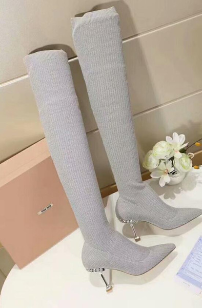8b378668092 2018 2019 Fall Womens Black Light Grey Sweater Stretch Knit Fabric Thigh  High Over The Knee Pointed Toes Kitten Heels Pull On Sock Boots Suede Boots  ...