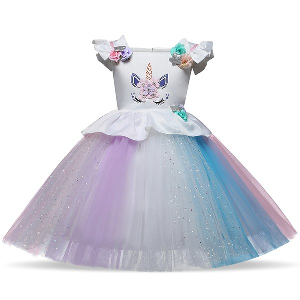 New Arrival Fancy Unicorn Dress for Kids Baby Princess Girls Dresses for Party Costumes Girls Flower Ball Gown Vestido Unicornio