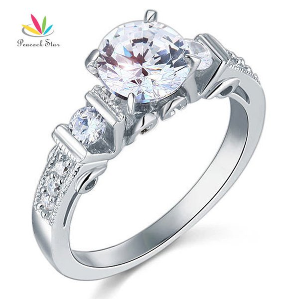 Peacock Star 1.25 Carat Vintage Style Solid 925 Sterling Silver Bridal Wedding Engagement Ring Jewelry CFR8079 S18101608
