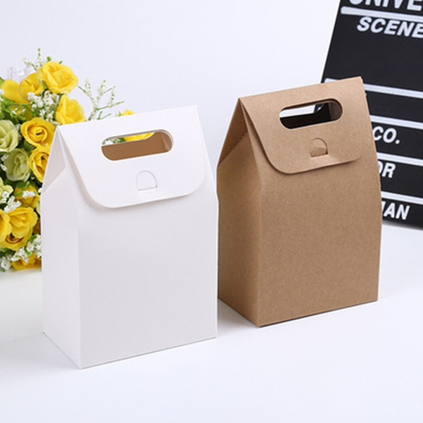 Natural kraft &White cardboard paper bag with handle Wedding Party Favor Paper Gift Bags 10*6*15.3cm fast shopping jc-326
