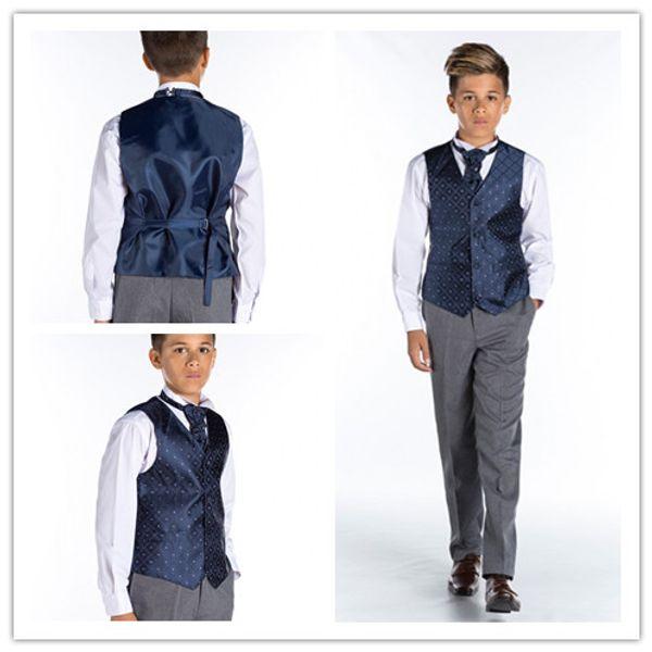 2018 Cheap Diamonds Camo Vest Kids Formal Wear Boy's Wedding Wear Custom Made With Tie Camouflage Boy Outwear Cute Little Boy Vest