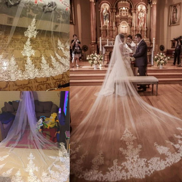 Lace Tulle Cathedral Length Bridal Veils One Layer Applique Edge Wedding Veils Custom Made Bridal Accessories With Comb