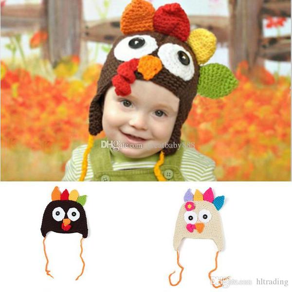 Ação de graças infantil Peru chapéus De Malha de Inverno Chapéus De Malha Quente Tampas De Hedging caricatura Mão Crochet Caps C2836