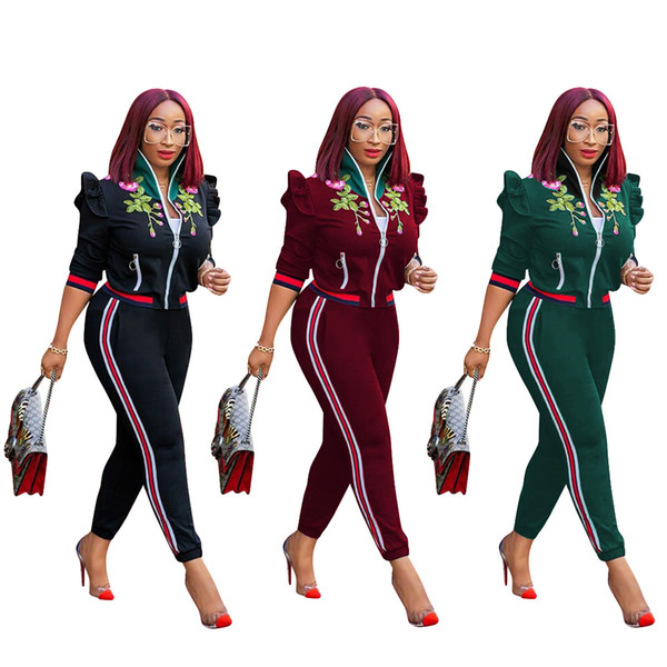 2018 Women Ruffle 2 Piece Tracksuits Fashion Flowers Embroidered Side Ribbon Stand Collar Long Sleeve Pocket Zip Slim street Outfits Green