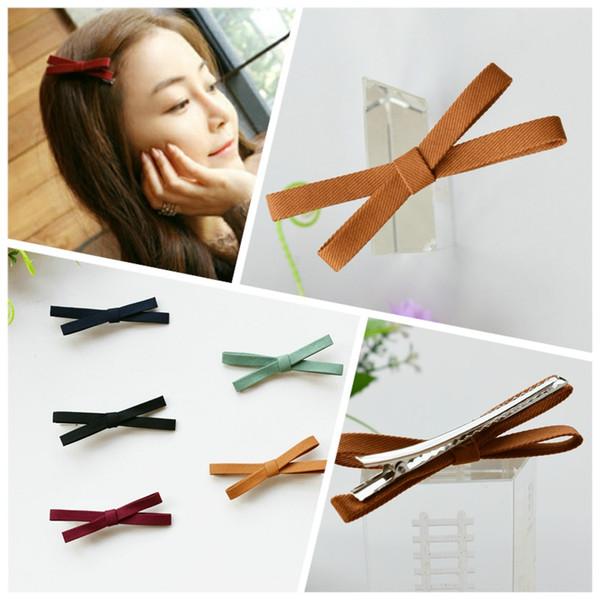 Tissu coréen tissu Cross Bow Duckbill pince à cheveux bibelots en épingle à cheveux pour filles femmes Bonjour Kitty cheveux accessoires épingles à cheveux 4 / L