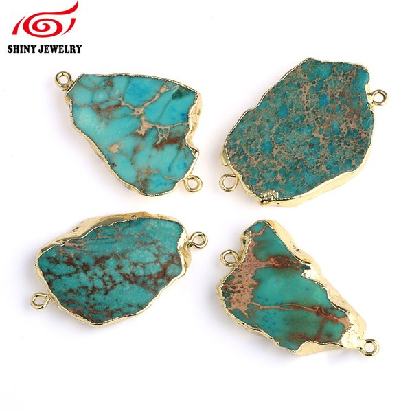 Natural Sea Sediment Jaspers Irregular Connector Double Bail Druzy Pendant Beads Fashion Druzy Jewelry Natural Gem Stone Pendant