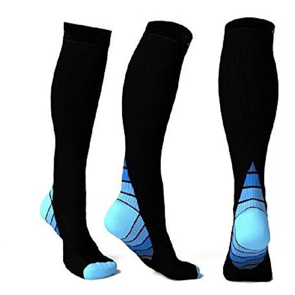 Medias de compresión anti fatiga calcetines de milagros RunningFitness mejora la circulación de la resistencia y la recuperación de calcetines Calf Support Relief calcetines