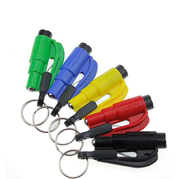 Car Styling Pocket Auto Emergency Escape Rescue Tool Glass Window Breaking Safety Hammer with Keychain Seat Belt Cutter