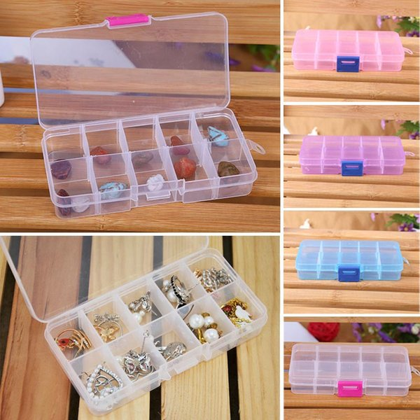 10 Slots Nail Art Storage Box Plastic Transparent Display Case Organizer Holder For Rhinestone Beads Ring Earrings HG99