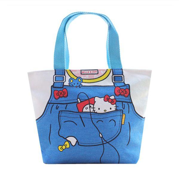 6dec4e04a Cute Cartoon Hello Kitty Canvas Tote Bag Kids Lunch Bag for Women Girls  Small Handbag Lunch