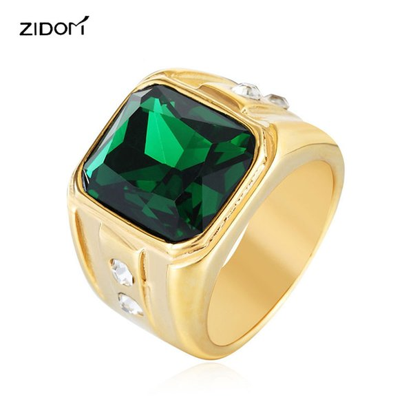 whole saleHigh quality Gold color 316L Stainless Steel Simple men rings fashion gifts Hiphop style red green blue gem ring male jewelry