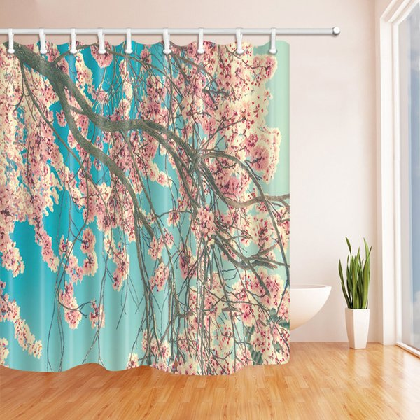 Beautiful Flower Landscape Fashion Shower Curtain 70 x 70 In Mildew Resistant Waterproof Polyester Bathroom Accessories Hanging Curtains