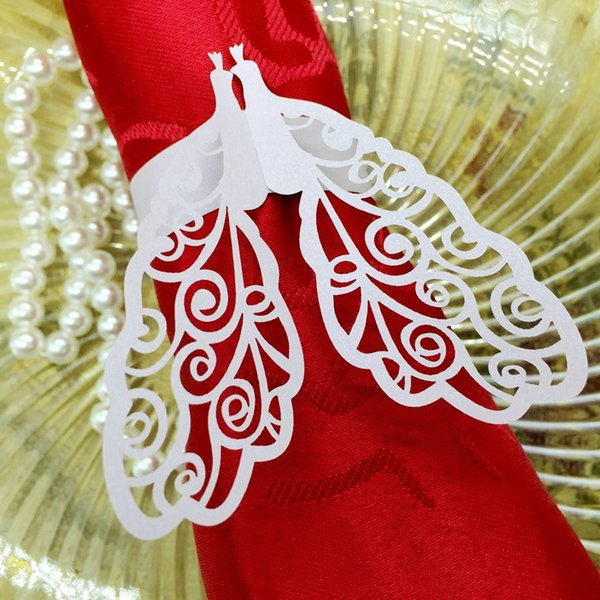 240pcs Laser Cut Hollow Peacock Paper Card Napkin Ring Serviette Buckle Holder Hotel Wedding Party Favour Decoration
