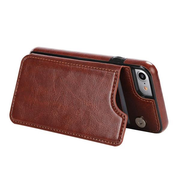 Date vente d'usine pour iphone cas brillant cheval fou cas de téléphone de cire magnétique support magnétique de protection pour Samsung portefeuille cas