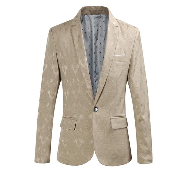 YFFUSHI 2017 Design de Moda Homens Terno Jaqueta Novo Outono Jacquard Blazer 4 Cores Entalhado Estilo Casual Slim Fit
