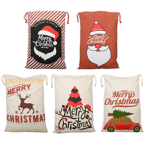 2018 New Christmas Candy Canvas Bags For Kids Santa Claus Elk Pattern Christmas Gift Bags Party Supply