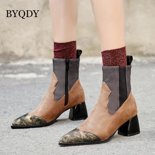 BYQDY Black Square Heels Damen Schuhe Kurze Stiefeletten Herbst Frau Plattform Heels Mode Spitz Party Stiefel Förderung