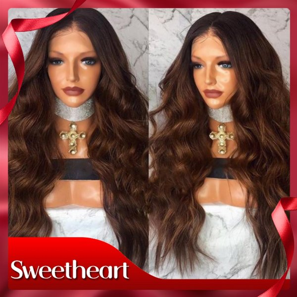 Sweetheart Sexy 2 Tones Dark Roots Ombre Brown Body Wave Synthetic Lace Front Wig Glueless Heat Resistant Fiber Hair Long Wavy Women Wigs