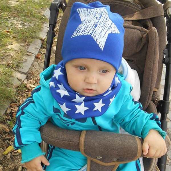 Wholesale Infant Cap Hat Cotton Scarf Knit Child Caps Star Baby Hat Scarf Christmas Gift Set