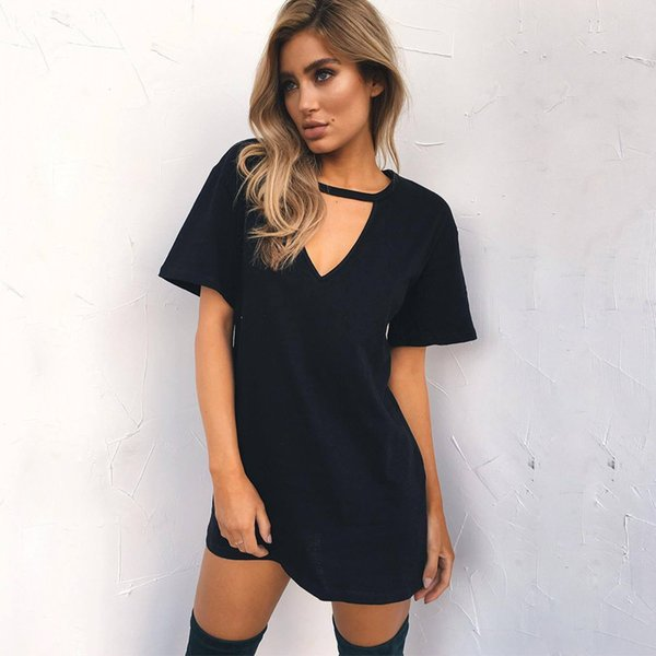 Women Sexy Choker V-Neck Summer Dress Halter T Shirt Dress 2018 Short Sleeve Casual Loose Black Mini Dress Vestidos